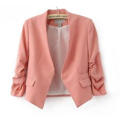 Western Style OL Style Candy Color Three Quarter Sleeve Coat Pink ❤ liked on Polyvore featuring outerwear, jackets, blazers, tops, 3/4 sleeve blazer, red jacket, western jackets, 3/4 sleeve jacket and pink blazer