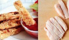 Ингредиенты: 500 гр куриного филе 1 ст. панировочных сухарей (желательно крупных) 0,5 ст. кефира 3 ст. л. кунжута 2 зубчика чеснока 2 ч. л. молотой сладкой паприки соль, перец – по вкусу Приготовление: Куриное филе отбить обратной сторона ножа и нарезать длинными