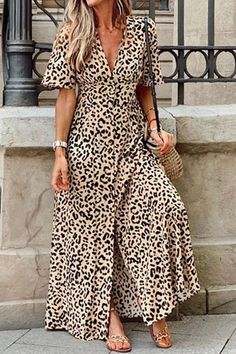 Leopard Casual V Neck Short Sleeves Maxi Dress – immorgo Maxi Dress With Sleeves, V Neck Dress, Short Sleeve Dresses, Short Sleeves, Casual Dresses, Fashion Dresses, Dresses Dresses, Simple Dresses, Leopard Dress