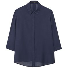 Mango Textured Flowy Blouse (55 CAD) ❤ liked on Polyvore featuring tops, blouses, navy, 3/4 sleeve tops, collar top, mango blouse, navy blouse and three quarter sleeve tops