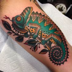 Traditional chameleon by Matthew Houston at Gastown Tattoo; Vancouver, BC, Canada.