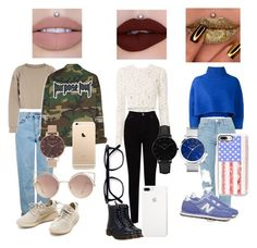 """Going out with the girls"" by kianxxcam13 ❤ liked on Polyvore featuring Topshop, My Mum Made It, Olivia Burton, MANGO, Vika Gazinskaya, New Balance, EAST, Dr. Martens, A.L.C. and Casetify"