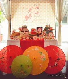 Asian Inspired 70th Birthday Party via Kara's Party Ideas : The paper brollies adds drama
