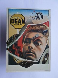 POP ART POSTCARD MOVIE STAR JAMES DEAN & cars car z1