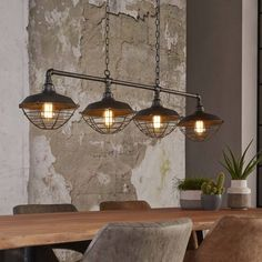 Hanglamp Industrial Tube Old Grey 4 Lichts