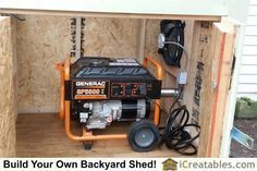 Generator installed in generator enclosure.Powered gable vent installed above hookup for exhaust port. Vent turns on when generator is powered. #PortableShedPlan Generator Shed, Emergency Generator, Portable Generator, Power Generator, Emergency Power, Solar Panel Cost, Solar Panels, Gable Vents, Homemade Generator
