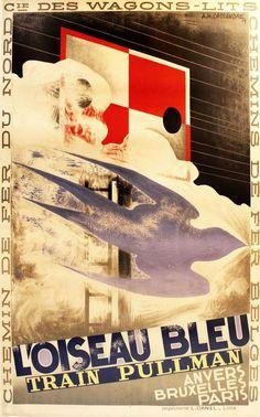 Pullman Trains L'Oiseau Bleu Art Deco Poster Cassandre 1929 13 x 19 Giclee print #ArtDeco