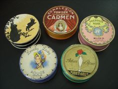 Selection of vintage rouge/powder boxes.