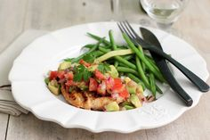 avocado tomato salsa with grilled fish and green beans