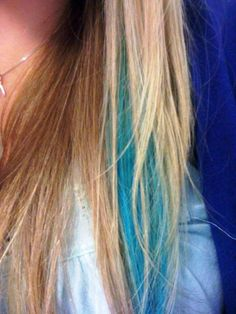 Mermaid Streak...I actually did it! A Turquoise Peekaboo. Check my blog for instructions for a vibrant result.