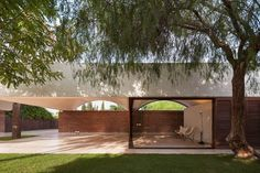 Spanish architecture practice Mesura designed 'Casa IV', a house extension featuring a vaulted canopy roof in the hot, dry countryside of Elche