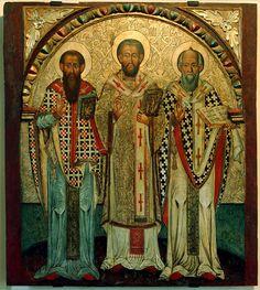 Отцы Церкви, чьи труды стали частью Священного Предания — Василий Великий, Григорий Богослов и Иоанн Златоуст.