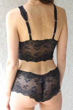 ec5018dd77c5 Sheer Black Lingerie Set Bralette Sheer Lingerie Sexy Black Lingerie Sheer  See Through Lingerie Sexy Black Lace Underwear Gift for Her