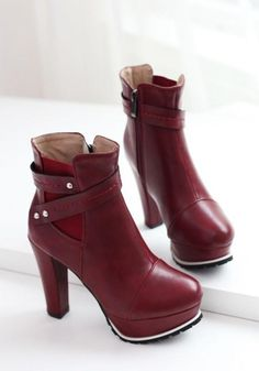 New Women Red Round Toe Chunky Add Feathers Fashion Ankle Boots 784a954e2c0d