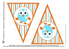 Giggle & Hoot free bunting template Owl Bunting, Owl Banner, Bunting Flags, Bunting Garland, Free Banner, Owl Parties, Owl Birthday Parties, Birthday Ideas, Bunting Template