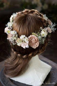 ふんわりピンクガーデンフラワーとカスミソウのヘッドドレス 花冠 corolla#garland#wreath