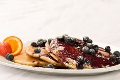 Fresh Blueberry Pancakes at Stack's Hilton Head, our favorite breakfast spot on Hilton Head Island, SC