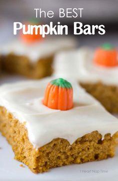 Super soft pumpkin bars with cream cheese frosting via iheartnaptime.net - a dessert the whole family loves!  #recipe #dessert