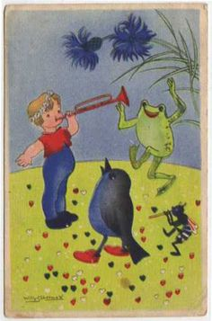 Post-Card-Willie-Schermele-Child-Blowing-Horn-With-Frog