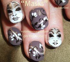Nail-art by Robin Moses. Mardi Gras Masks PINSPIRED