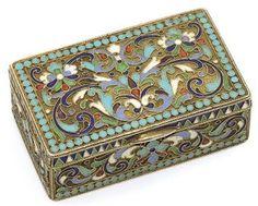 A RUSSIAN SILVER-GILT AND CLOISONNE ENAMEL SNUFF BOX  MARK OF DMITRIY NIKOLAYEV, MOSCOW, 1908/17http://www.christies.com/
