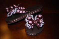 Items similar to Adorable Custom Kids Ribbon Flip Flops on Etsy Leather Flip Flops, Mens Flip Flops, Ribbon Flip Flops, Flip Flop Craft, Decorating Flip Flops, Decorated Shoes, Minnie Mouse Party, Diy Hair Accessories, Diy Clothing