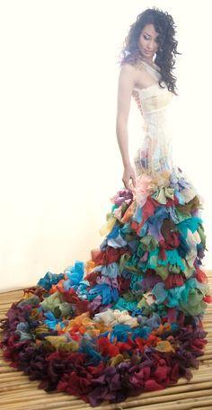 @Jocelyn Fait, talk about a bohemien gypsy wedding gown. Custom Made, Coloured Wedding Dress by Chrissy Wai-Ching