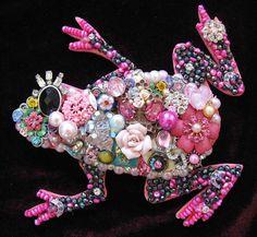 Taffy Pink Frog Mosaic Vintage Jewelry Art by ArtCreationsByCJ