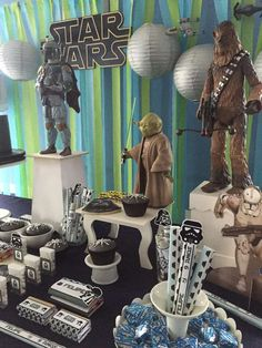 Incredible dessert table at a Star Wars birthday party! See more party planning ideas at CatchMyParty.com!
