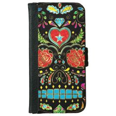 Colorful Floral Sugar Skull Glitter And Gold 2 Uncommon Clearly™ Deflector iPhone 6 Plus Case Iphone 6 Wallet Case, Iphone 6 Plus Case, Iphone 7 Cases, Card Wallet, Phone Card, 6s Plus, Your Cards, Red Roses, Apple Iphone