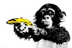Framed Monkey Pointing A Banana Wood Framed Poster Street Art Print Graffiti Pop Art Posters, Cool Posters, Poster Prints, Giant Posters, Banksy Monkey, Deco Panel, Urbane Kunst, Monkey And Banana, Geisha Art