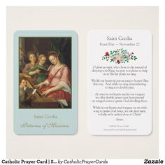 Catholic Prayer Card | St. Cecilia 1 #PrayerCards #HolyCards #MassCards #VintagePrayerCards Female Catholic Saints, Beautiful Prayers, Prayer Cards, Business Card Size, Confirmation, Smudging, Paper Texture, Anniversary, Things To Come