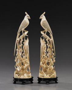 爱 Chinoiserie? Mais Qui! 爱 home decor in Chinese Chippendale style - Pair Chinese Carved Ivory Long-Tailed Birds