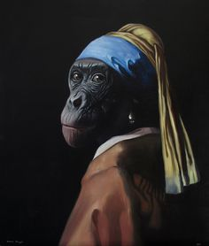"""Vermeer monkey"" (2012), by Daniel Sueiras. Painted after Vermeer's ""The girl with a pearl""."
