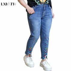2XL 3XL 4XL Women Jeans Pants 2017 Spring High Waist Casual Trousers Jeans Woman Plus Size Tassels Embroidery Ankle-Length Pants