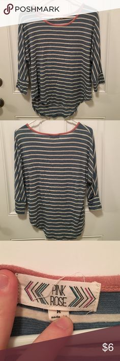 Pink Rose Blue and Pick Striped Top Cute Fun His top is in great condition and fits true to size. Is great for a casual look or for spring! Pink Rose Tops Tees - Short Sleeve