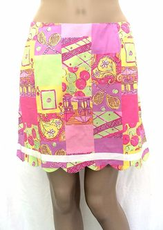 LILLY PULITZER Multi-color Print Cotton Blend Tennis Skirt - Size 6 - EUC #LillyPulitzer #Skorts