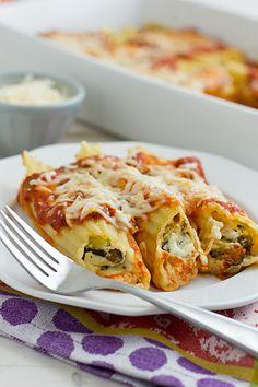 make-ahead cheese & roasted vegetable baked manicotti