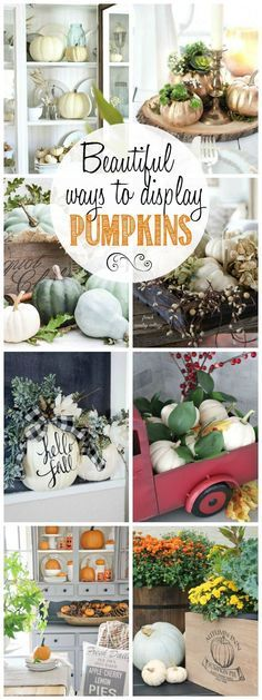 Beautiful ways to display pumpkins for your fall decor. : Beautiful ways to display pumpkins for your fall decor. Fall Home Decor, Autumn Home, Autumn Decorating, Decorating Ideas, Decor Ideas, Decorating Pumpkins, Thanksgiving Decorations, Seasonal Decor, Fall Harvest Decorations