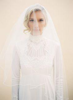 Wedding Veil Angel Pencil Edge Wedding Veil 2 Tier by veiledbeauty