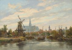 Haarlem Donker Spaarne By Salomon Leonardus Verveer, from The Hague, Netherlands - City Painting, Painting & Drawing, Dutch Golden Age, Medieval Life, Dutch Painters, Dutch Artists, Le Moulin, Fine Art Gallery, Beautiful Paintings