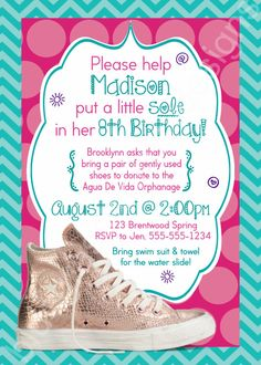 SOLE Birthday Party Printable Invitation- pink, aqua, chuck taylors, donate shoes by BluegrassWhimsy, $15.00