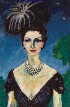 Kees van Dongen Monique de Carvalho Marinho, with hat 1946 Oil on canvas, 80 x 53 cm. Henri Matisse, Portrait Art, Portraits, Maurice De Vlaminck, André Derain, Great Works Of Art, Raoul Dufy, Dutch Painters, Art Prints For Sale