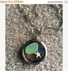 SUMMER SALE  Sea Glass Floating Locket Pendant Necklace-Gift