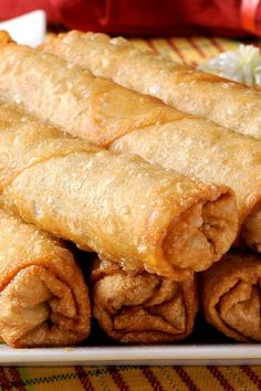 Chinese Egg Rolls: quick & easy #recipe ready in half an hour!  Unseasoned pork. Fine without the onions and ginger. More garlic.