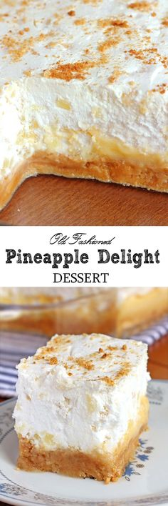 Pineapple Delight Dessert - Sugar Apron Are you looking for the perfect dessert for a summer family reunion or pot luck ? This Pineapple Delight Dessert is so easy to make and feeds a crowd. 13 Desserts, Summer Desserts, Delicious Desserts, Dessert Recipes, Yummy Food, Layered Desserts, Trifle Desserts, Pudding Desserts, Dessert Food