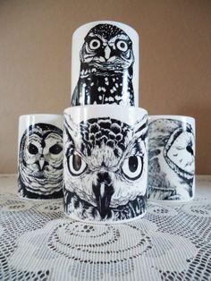 Set of Four Black Owl Mugs