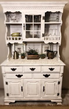 BEAUTIFUL White Vintage Rustic Hutch Dining Room Distressed Farmhouse