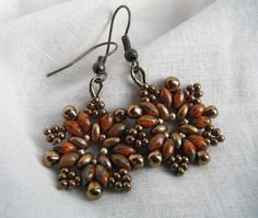Dark Bronze and Orange beaded earrings