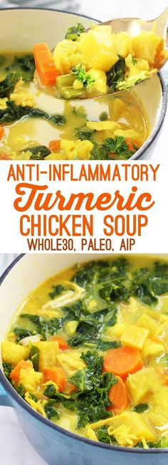Anti-Inflammatory Turmeric Chicken Soup (Paleo, AIP, Whole 30) #DetoxDietDinner